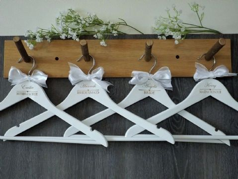 Personalised White Wooden Wedding Hangers Set of 7 with Bow - Heart